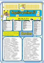 English Worksheet: Negative prefixes step 3 il, ir, im, +