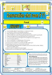 Converstaion Chat room #11 Food (Junk food inter alia)