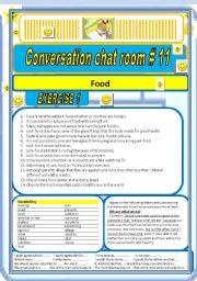 English Worksheet: Converstaion Chat room #11 Food (Junk food inter alia)
