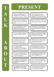 English Worksheet: Present tenses - 18 conversation cards (editable)