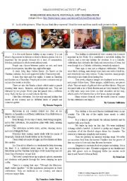 English Worksheet: WORLDWIDE HOLIDAYS, FESTIVALS, AND CELEBRATIONS