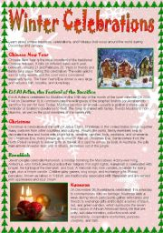 English Worksheet: Winter Celebrations - reading practice
