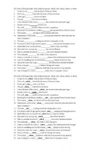 English Worksheets: Relative pronoun worksheet with whom, who, where, which