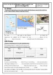 English Worksheet: module 3 section2 listening about malta third year tunisian pupils