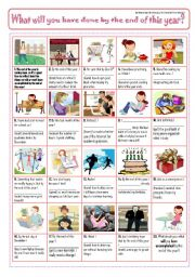 English Worksheet: WHAT WILL YOU HAVE ACCOMPLISHED BY THE END OF THIS YEAR? - pIcTuRe sToRy!