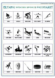 English Worksheet: WINTER SPORTS PICTIONARY!
