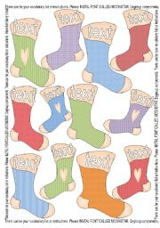 English Worksheets: 12 Stockings Template - Colourful + Outlined BW
