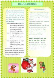 English Worksheet: New Year Resolutions