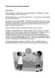 English Worksheets: playing and communicating