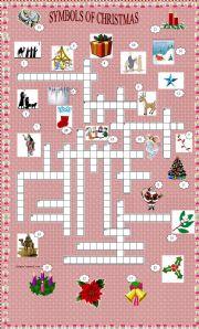 English Worksheet: Xmas set 5 - Symbols of Christmas crossword + key