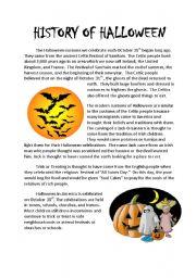 History of Halloween - ESL worksheet by Punkwillow