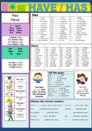 English Worksheet: Have / Has