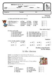 English Worksheet: Test - 5th form