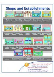 English Worksheet: Shops and Establishments