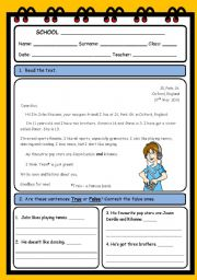 English Worksheets: READING AND COMPREHENSION ( 3 PAGES)