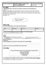 English Worksheets: module 3 section3reading third year tunisian pupils