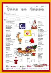 English Worksheet: CHRISTMAS song: MUST BE SANTA by Bob Dylan - with answer key