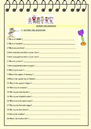 English Worksheets: 31 questions for elementary students