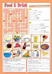 English Worksheet: Food & Drink Activities ***editable