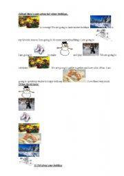 English Worksheet: winter holidays