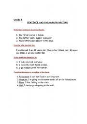 English Worksheets: Writing grade 6