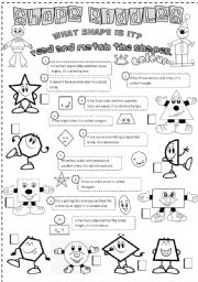 English Worksheet: shape riddles