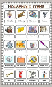 English Worksheets: Household Items Pictionary