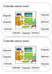 English Worksheet: living room