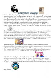 English Worksheets: Colombus Life & Adventures