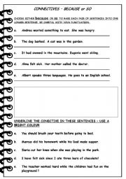 English Worksheets: BECAUSE or SO