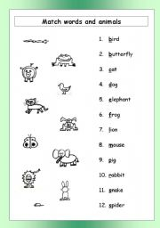English Worksheets: HMWS - Match Animals and Words