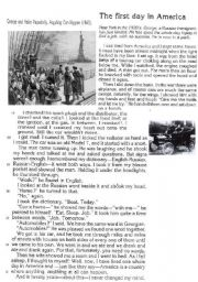 English Worksheet: The first day In America Text Questions and Answer key