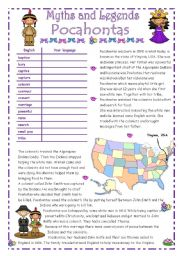 English Worksheet: POCAHONTAS - Myths & Legends series # 4