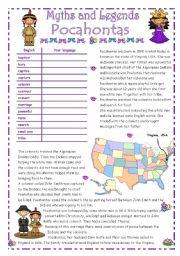 English Worksheet: POCAHONTAS - Myths & Legends series # 4