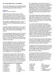English Worksheet: The Google digital library row explained
