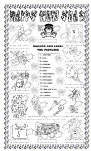 English Worksheet: HAPPY NEW YEAR: NUMBER AND LABEL THE PICTURES, ENJOY IT