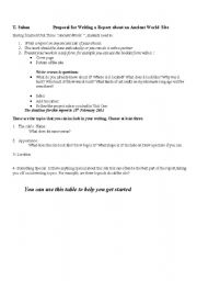 English Worksheet: writing report about ancient sites