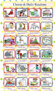 English Worksheet: Chores and daily routines