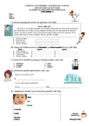 an exam sample for 6th graders
