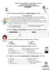 English Worksheet: an exam sample for 7th graders (in Turkey)