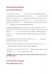 English Worksheet: first certificate exercises with key