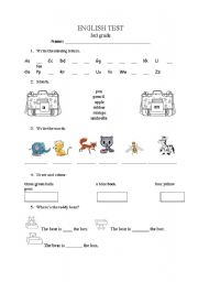 English Worksheet: English test for 3rd grade