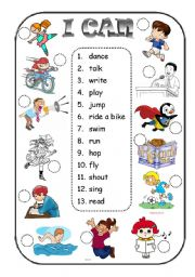 English Worksheet: I can + verb - matching exercise
