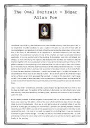 English Worksheets: The Oval Portrait - text and reading comprehension