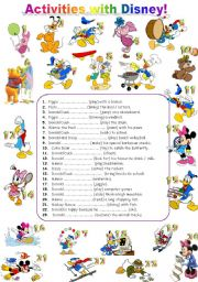 English Worksheet: ACTIVITIES WITH DISNEY CHARACTERS - FULLY EDITABLE! :)