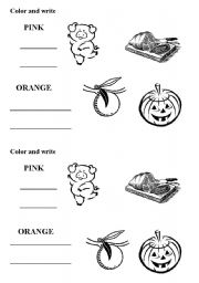 English worksheet: pink and orange colors