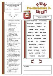 English Worksheets: FunSheet Pre-Intermediate #14