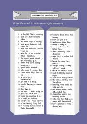 Word  Order (affirmative sentences) (1/2)