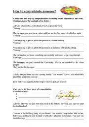 English Worksheets: the ways of congratulations!:)