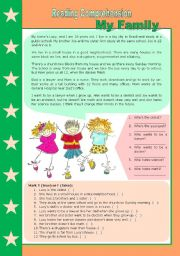 English Worksheet: Family + there to be (present) + superlatives + places in the city– [reading comprehension + vocabulary + grammar} 4 tasks included ((2 pages)) ***editable
